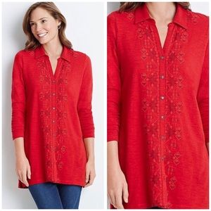 J Jill Red Embroidered Aztec Cotton Tunic Top Sz L